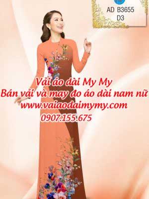 vải áo dài in hoa trang trí trên dưới màu tím