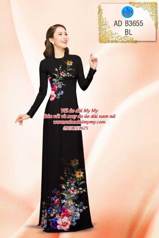 vải áo dài in hoa rang trí màu hồng