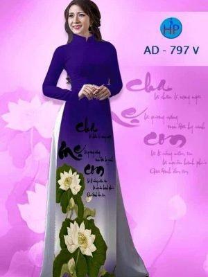 áo dài in chữ thư pháp hoa sen màu xanh