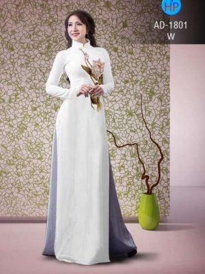 vải áo dài in hình hoa sen trên ngực áo