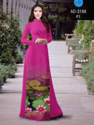 vải áo dài in hình ao hoa sen
