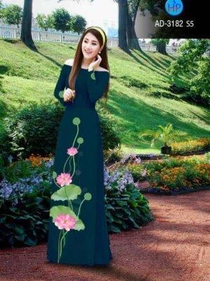 vải áo dài in hình hoa sen trên tà