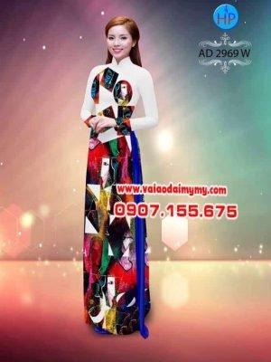 vải áo dài hoa văn lập thể 3D