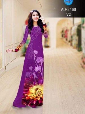vải áo dài in hình hoa sen trên tà và cánh tay áo (1)