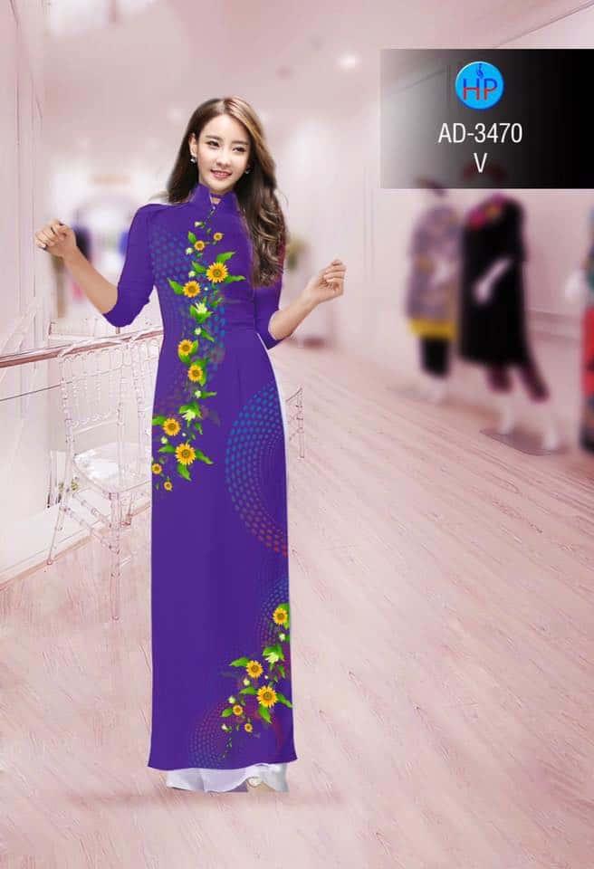 vải áo dài hoa hướng dương chấm bi trên dưới (4)