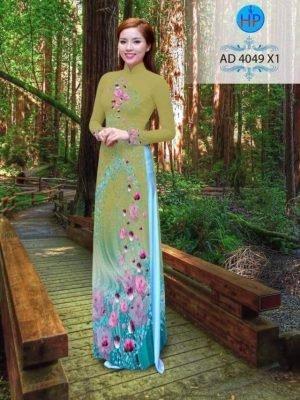 vải áo dài hoa hồng dọc tà áo (1)