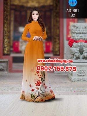 vải áo dài in hình cành hoa đỏ trên tà áo đẹp