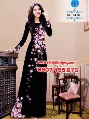 vải áo dài in hình chùm hoa đào rơi trên ah (13)