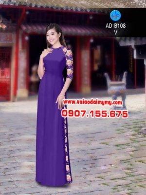 vải áo dài in hình hoa hồng trên tay áo (1)