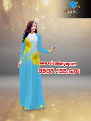 vải áo dài in hình hoa mai màu xanh