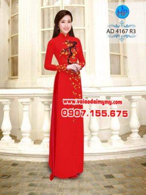 vải áo dài in hình hoa mai trên áo (1)