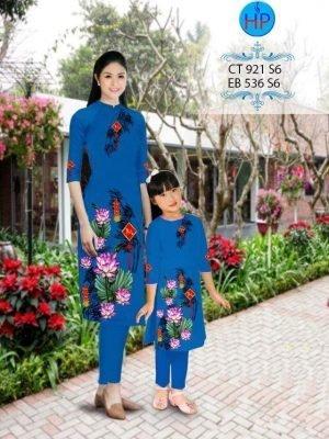 vải áo dài in hình hoa sen tết cho mẹ và bé (1)