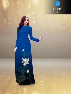 vải áo dài in hình hoa sen trên tà áo (1)