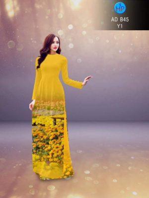 Vải áo dài in hình vườn hoa cúc vàng rực rỡ