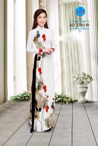 vải áo dài hoa sen đẹp (556)