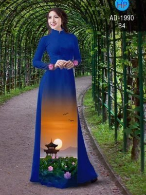 vải áo dài hoa sen đẹp (595)