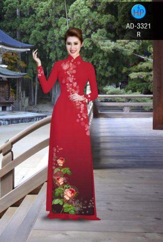 vải áo dài in hình hoa hồng trên tà áo màu đỏ
