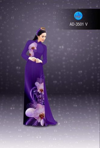 vải áo dài in hình hoa lan rất đẹp (1)