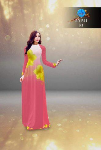 vải áo dài in hình hoa mai màu hồng (2)