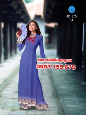 vải áo dài in hình hoa văn lập thể đơn giản (15)
