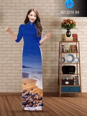vải áo dài in hình phong cảnh đẹp màu xanh dương (2)
