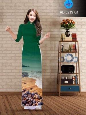vải áo dài in hình phong cảnh đẹp màu xanh lá