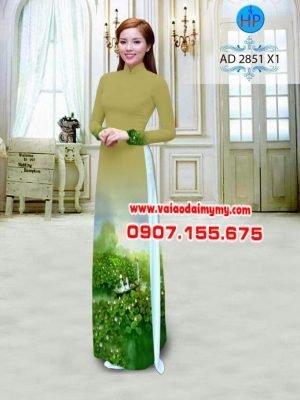 vải áo dài phong cảnh vườn sen (1)