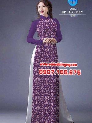Vải áo dài chấm bi hoa nhỏ AD 515