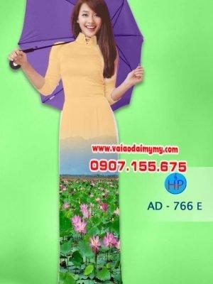 Vải áo dài hoa sen AD 766