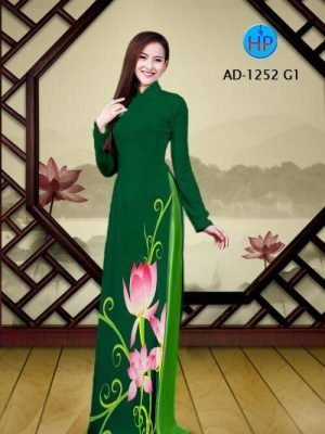 vải áo dài hoa sen đẹp (436)