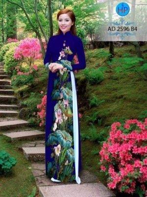 vải áo dài hoa sen đẹp (502)