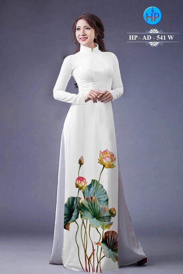 Vải áo dài hoa sen AD 541