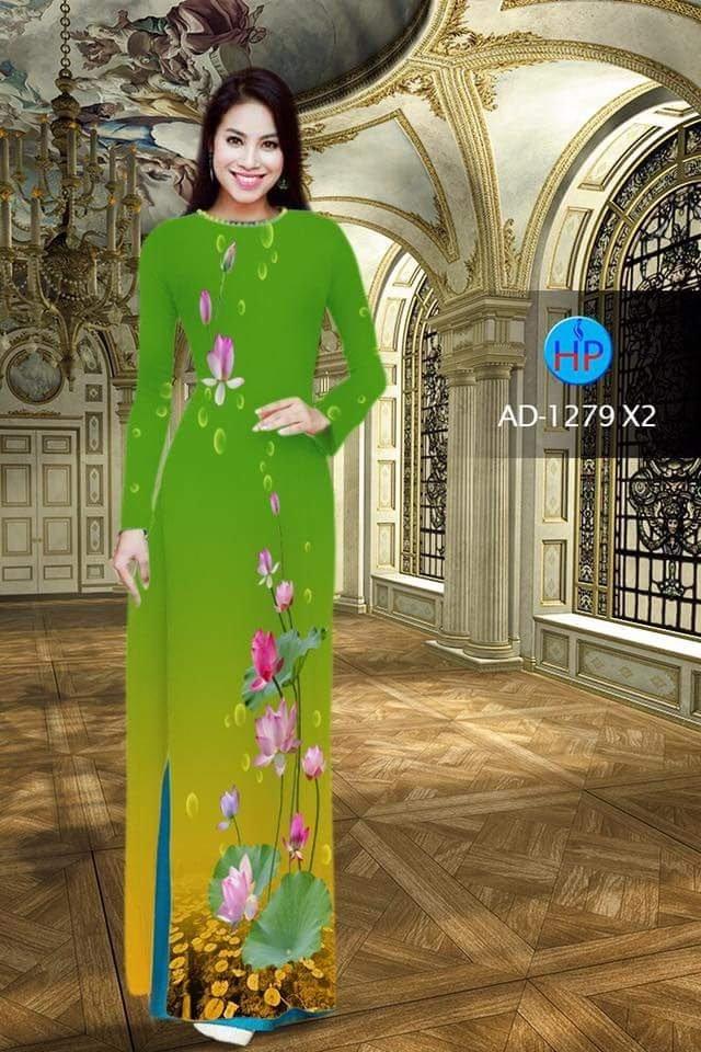vải áo dài hoa sen đẹp (258)