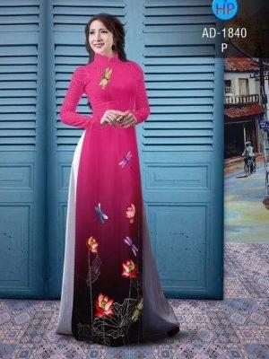 vải áo dài hoa sen đẹp (446)