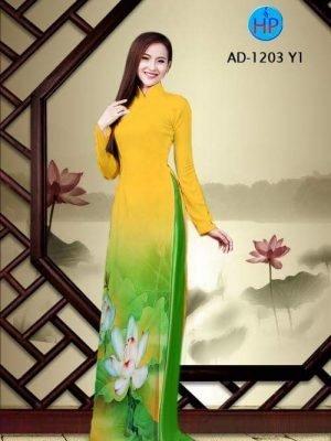 vải áo dài hoa sen đẹp (522)