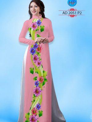 Vải áo dài hoa cúc AD 2051