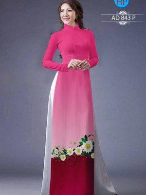 Vải áo dài hoa cúc AD 843