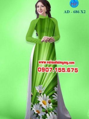 Vải áo dài hoa cúc AD 686