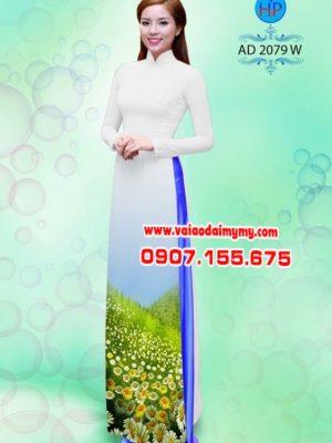 Vải áo dài hoa cúc AD 2079