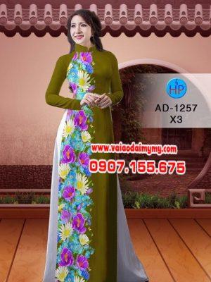 Vải áo dài hoa cúc AD 1257
