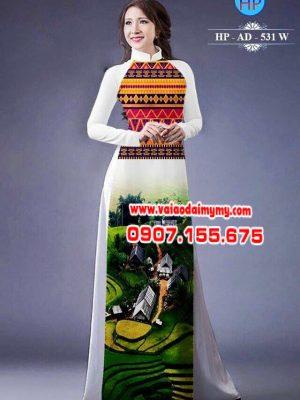 Vải áo dài hình phong cảnh AD 531