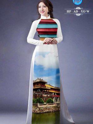 Vải áo dài hình phong cảnh AD 533