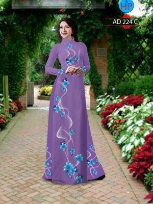 Vải áo dài hình hoa Ly AD 224