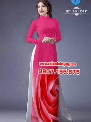 Vải áo dài hoa hồng AD 534