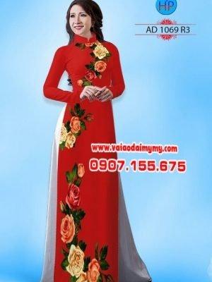 Vải áo dài hoa hồng AD 1069