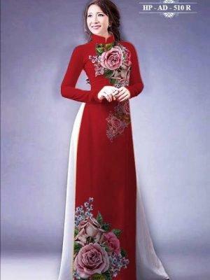 Vải áo dài hoa hồng AD 510