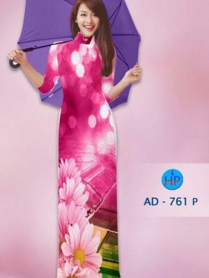 Vải áo dài hoa cúc AD 761