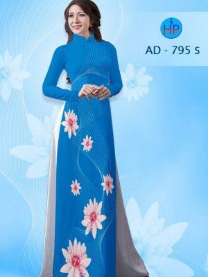 Vải áo dài hoa cúc AD 795