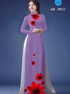 Vải áo dài hình hoa cúc AD 592