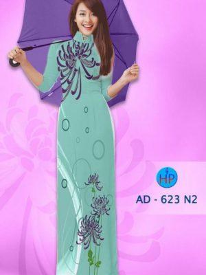 Vải áo dài hoa cúc AD 623